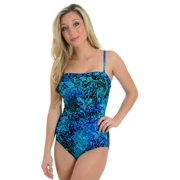 Womens Miraclesuit Swimwear One Piece Swimsuit Bandeau Straps Blue Green Print