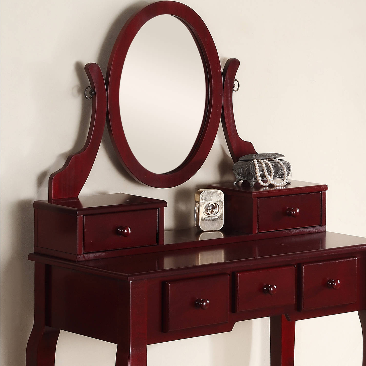 Roundhill Furniture Ashley Wood Makeup Vanity Table And Stool Set -  Walmart