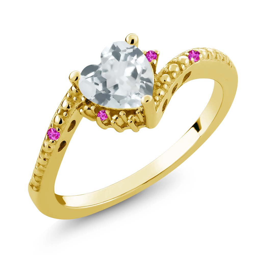 0.70 Ct Sky Blue Aquamarine Pink Sapphire 18K Yellow Gold Plated Silver Ring by