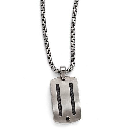 Edward Mirell Titanium Jewelry (Edward Mirell Jewelry Collection Titanium Black Cable and Black Spinel with Argentium Sterling Silver Bezel Necklace by Roy Rose Jewelry ~ Length 20'' inches )