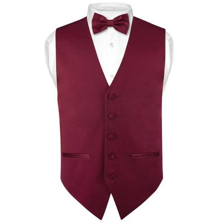 Mens SLIM FIT Dress Vest BowTie Solid Burgundy Color Bow Tie Handkerchief Set - Red Vest And Bow Tie