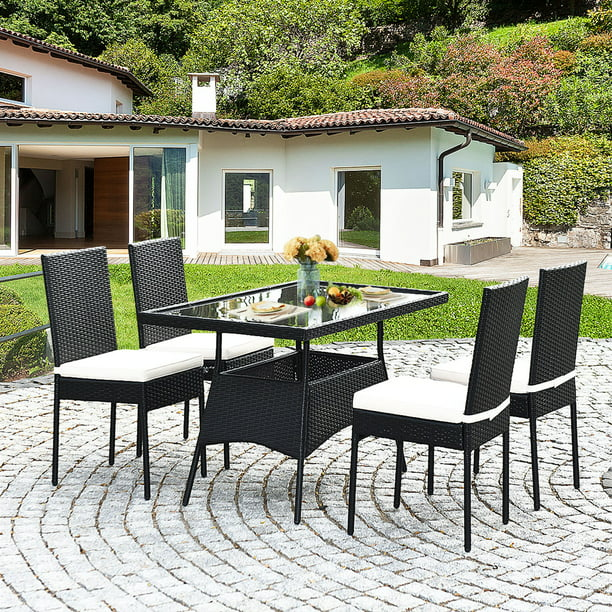 Gymax 5PCS Patio Wicker Dining Set Outdoor Rattan Furniture Set w/ Cushion