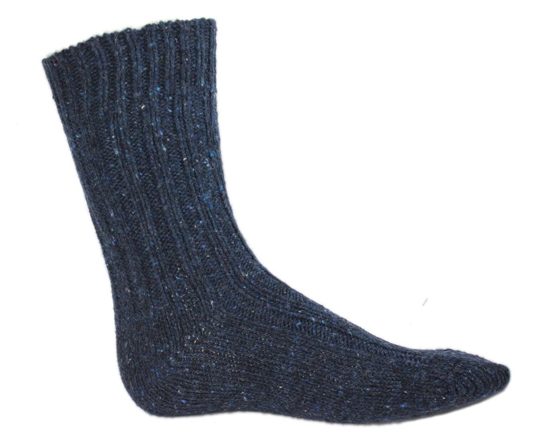 Calf Wool Socks Dark Blue Made in Ireland by Donegal Socks