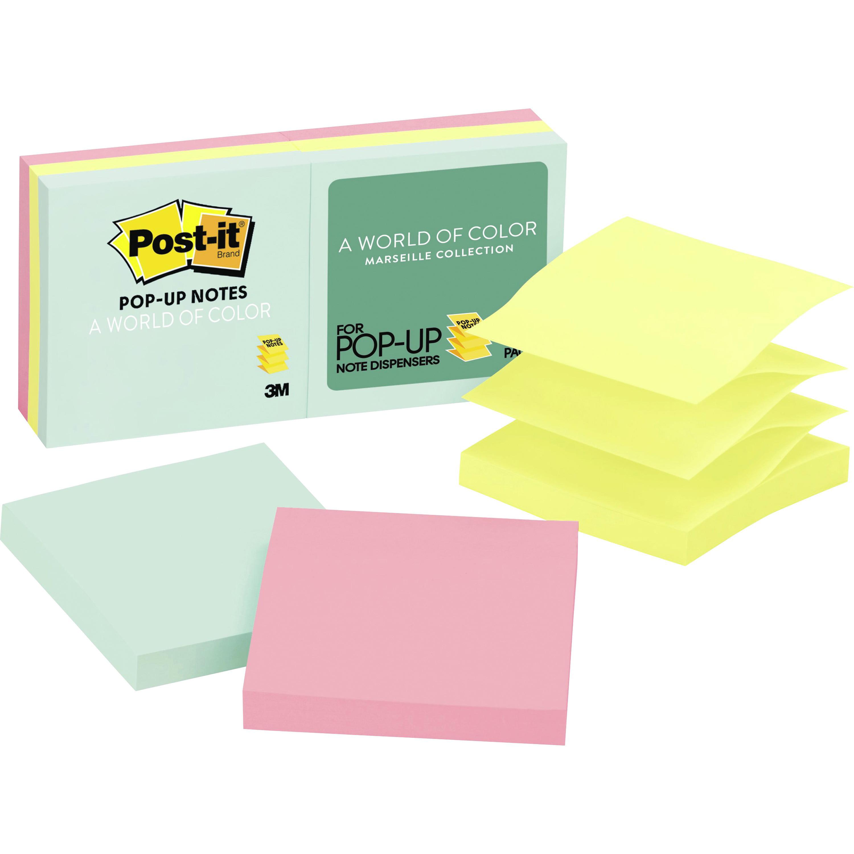 "Post-it®, MMMR330AP, 3"" Pop-up Marseille Notes Refills, 6 / Pack, Assorted"