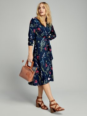 Time and Tru Women's Long Sleeve Faux Wrap Floral Dress