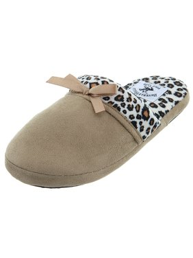 Beverly Hills Polo Club Tan Leopard Slip-On Slippers