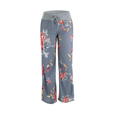 Women's Loose Baggy Yoga Long Pants Floral Printed Trousers Flowy Beach Pants
