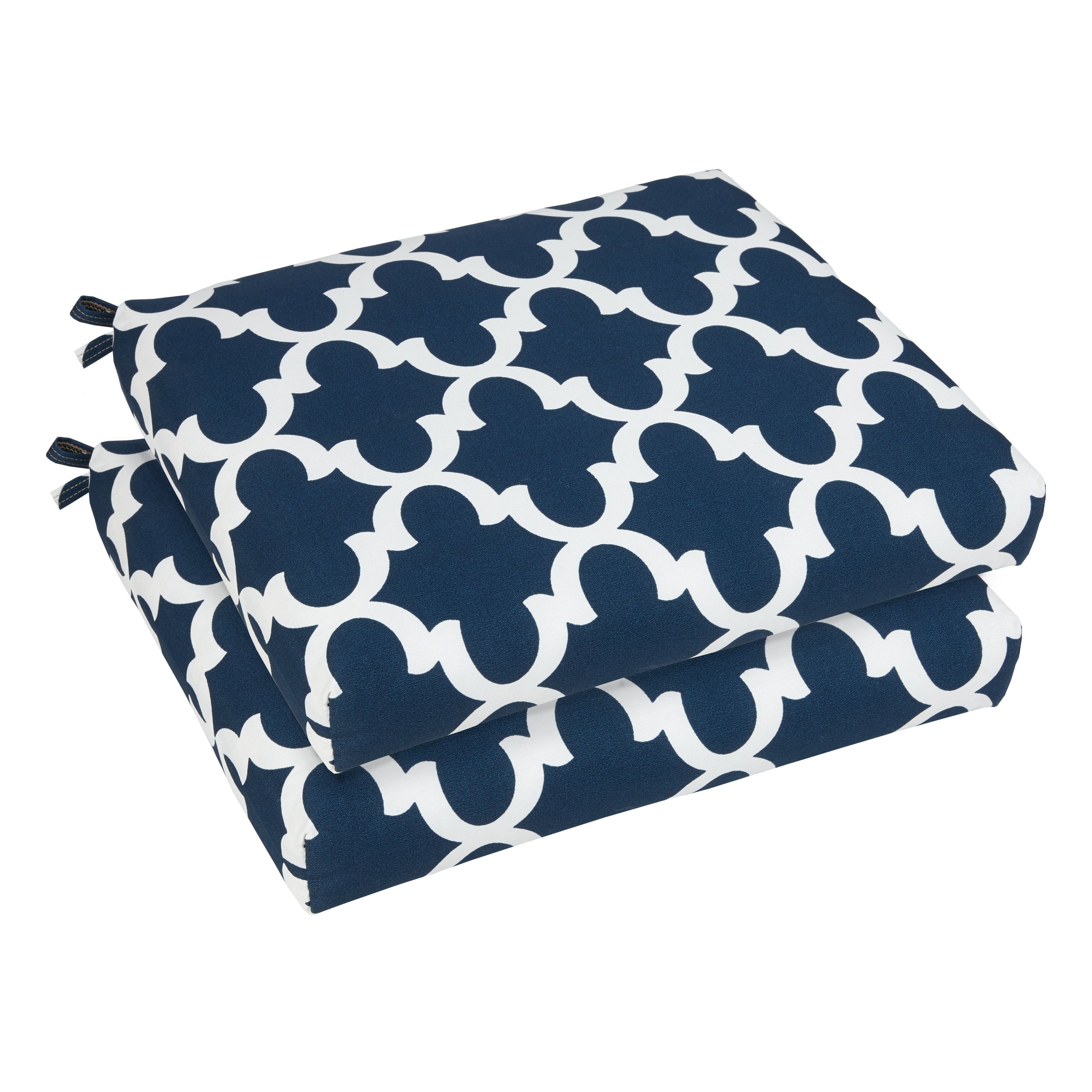 Humble and Haute Bristol 19-inch Indoor/ Outdoor Scalloped Navy Chair Cushion Set