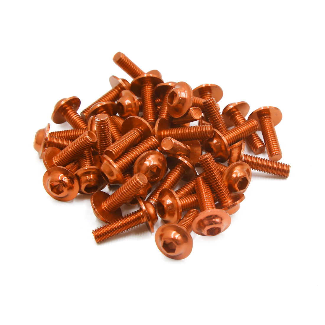 40pcs Orange Aluminum Alloy Motorcycle Hex Socket Head Bolts Screws M6 x 20