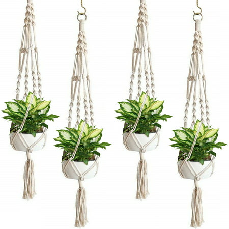 - Sorbus Macrame Plant Hanger Indoor Outdoor Hanging Plant Pots Cotton Rope, Elegant for Home, Patio, Garden, 4-Pack