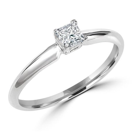 MD170184-P 0.5 CT Princess Diamond Solitaire Engagement Ring in 10K White