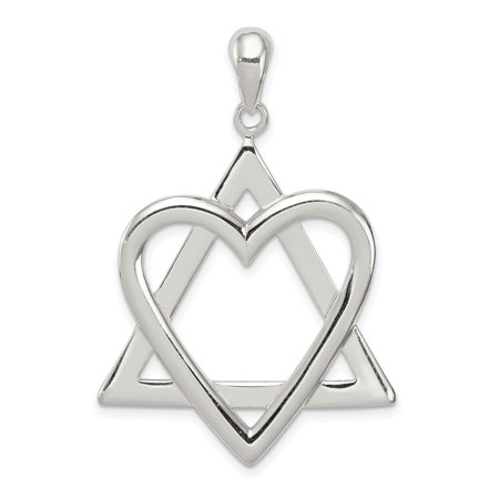 925 Sterling Silver Jewish Jewelry Star Of David Heart Pendant Charm Necklace Religious Judaica For Women Gift Set