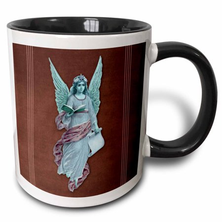 3dRose Angel in blue robe with purple sash and blue wings on a plum background and pink line accents, Two Tone Black Mug, 11oz