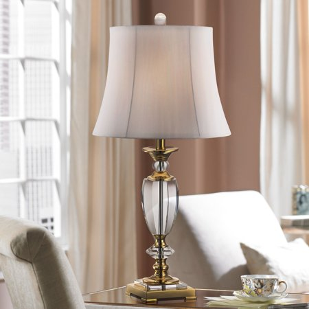 Vienna Full Spectrum Traditional Table Lamp Faceted Crystal and Brass Bell Fabric Shade for Living Room Family Bedroom Bedside