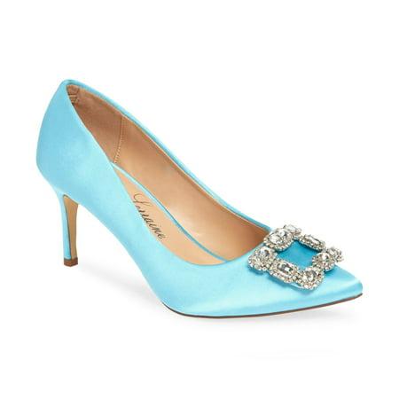 Lauren Lorraine Carolyn Soft Powder Blue Jewel Embellished Vamp Pointy Toe Pump