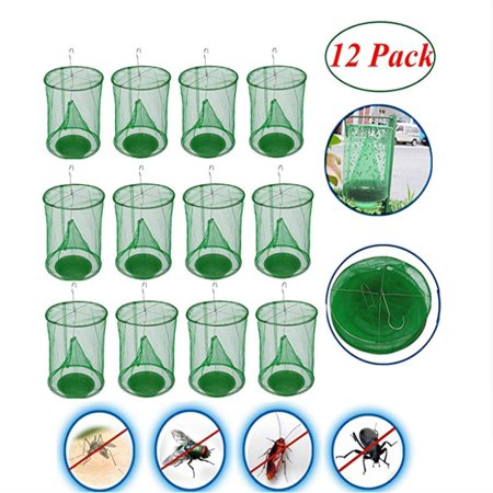 ZEDWELL Ranch Fly Traps Outdoor with Food Bait Container Flay Trap Reusable Fly Catcher Cage for Indoor or Outdoor Family Farms, Park, Restaurants,12