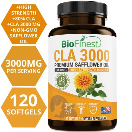 Biofinest CLA Safflower Oil 1500/3000mg - Conjugated Linoleic Acid - Non-GMO, Non-Stimulating, Gluten Free - Best For Weight Loss Belly Fat Burner Diet Supplement - For Men & Women (120