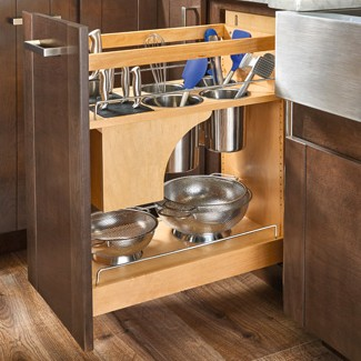 Rev-A-Shelf - 448KB-BCSC-11C - 11 in. Pull-Out Wood Base Cabinet Organizer with Knife Block and Soft-Close Slides