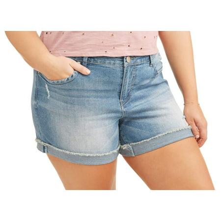 "Women's Plus 5"" Cuffed Basic Denim Shorts"