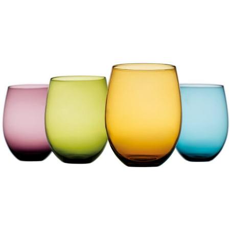 Wine Glass Beverage Charms - Tuscana Set of 4 Multi Colored - 14 Oz Vintage Wine or Beverage Stemless Glasses