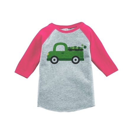 Custom Party Shop Kids Green Truck St. Patricks Day Grey Raglan - Green / XL Youth (18-20) T-shirt - Custom Kid Clothes