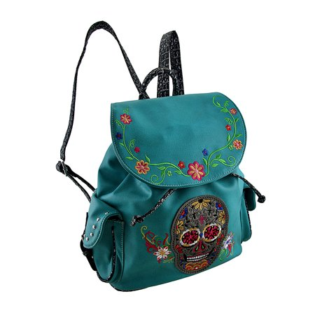 Embroidered Sugar Skull and Floral Trim Concealed Carry
