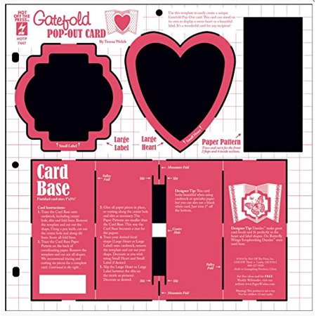 HOTP Heart & Label Pop-Out Cards HOTP7447, Hot Off The Press-Stencil Template By