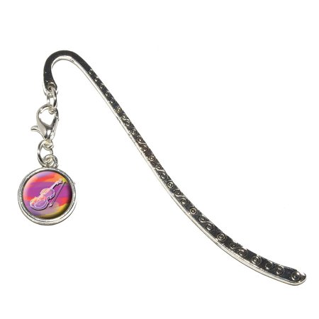 Rock Bands Violin (Violin Player - Band Orchestra Instrument Music String Metal Bookmark with Charm)