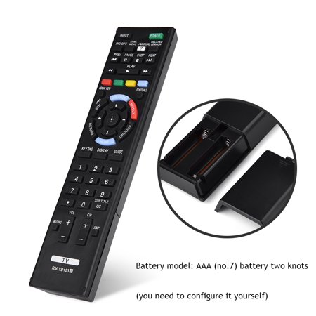Yosoo Remote Control For Sony,Universal Smart LED LCD TV Replacement Remote Control Controller RM-YD103 For Sony,Remote Controller For Sony Smart TV, - image 1 of 9