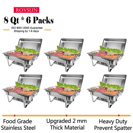 Zimtown 6Pcs Rectangular Chafing Dish 8 Quart Stainless Steel Full Size Tray Buffet Catering