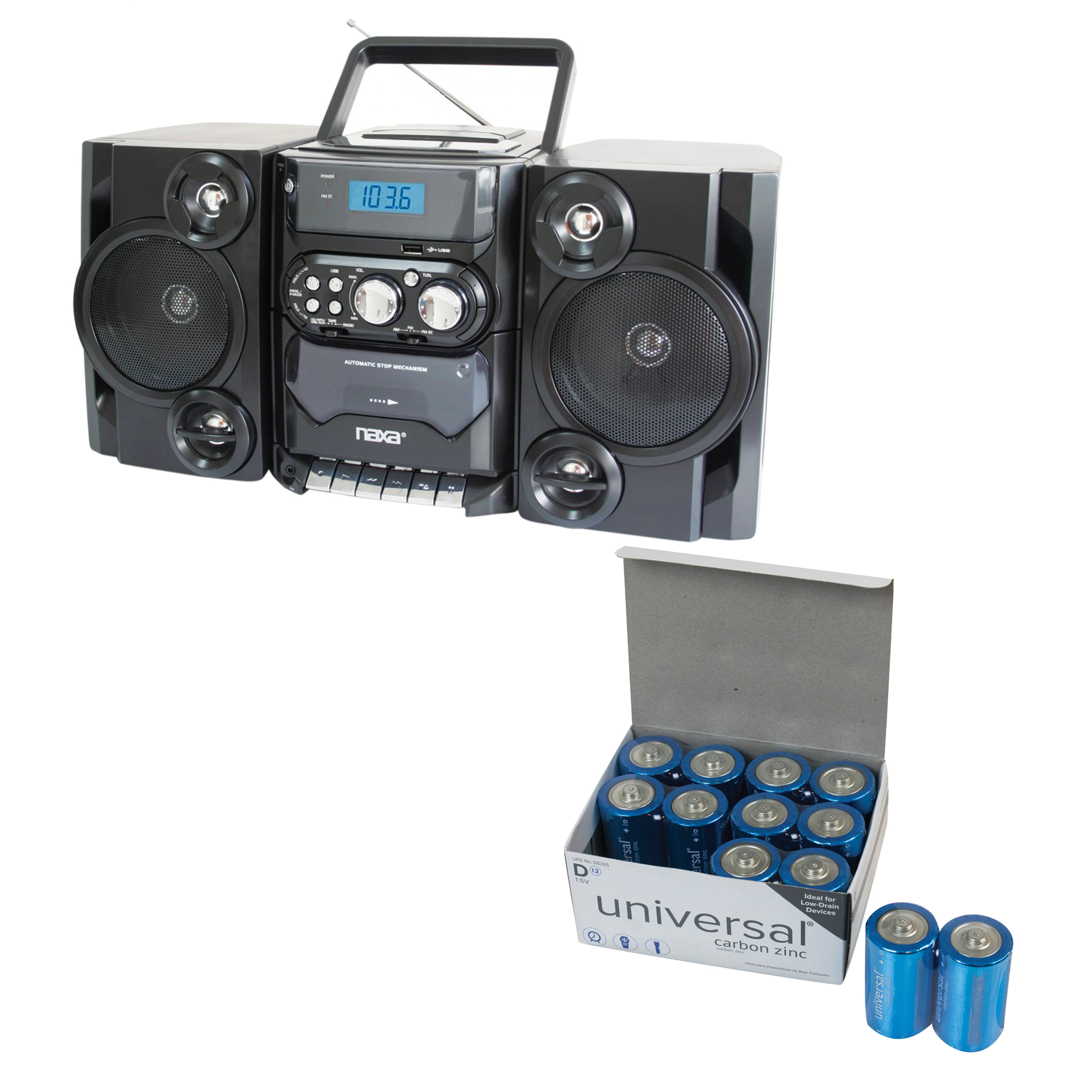 Naxa NPB428 Portable CD/MP3 Player With AM/FM Radio, Detachable Speakers, Remote & USB Input & UPG D 12 PACK