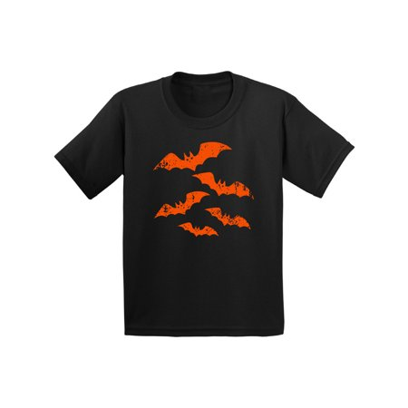 Awkward Styles Halloween Shirt for Kids Halloween Bats Graphic Youth T-Shirt Spooky Halloween Night Design Distressed Orange Bats Tee Trick or Treat Halloween Shirt - Halloween Bat Treats