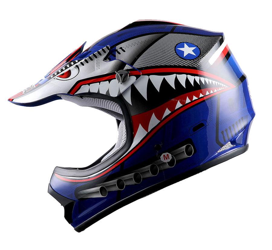 WOW Youth Kids Motocross Helmet BMX MX ATV Dirt Bike HBOY-K Shark Red