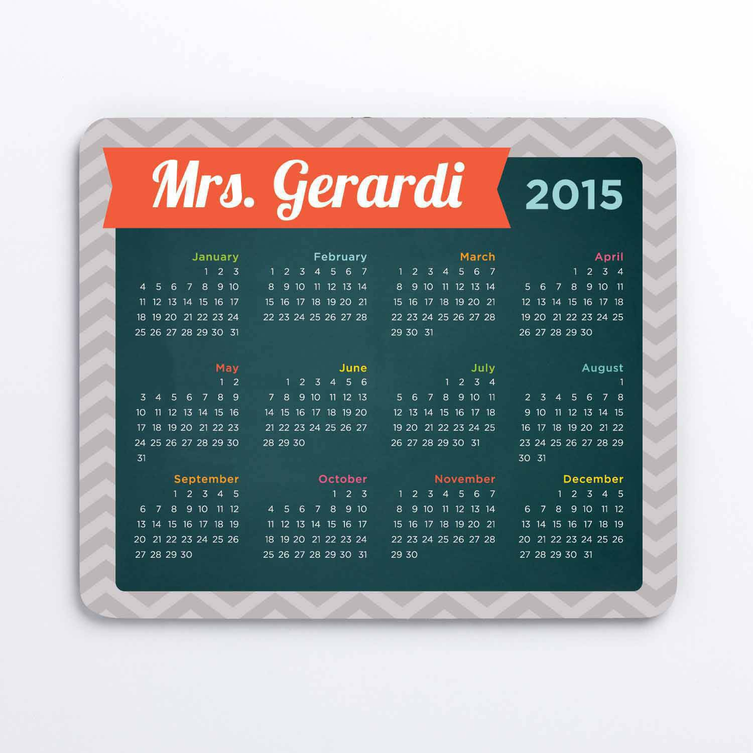 Personalized My Calendar Mouse Pad, Grey Chevron
