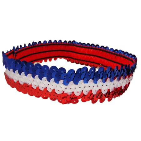 Kenz Laurenz Sequin Headband 1 Girls Headbands Sparkly Hair Head Bands Red White Blue