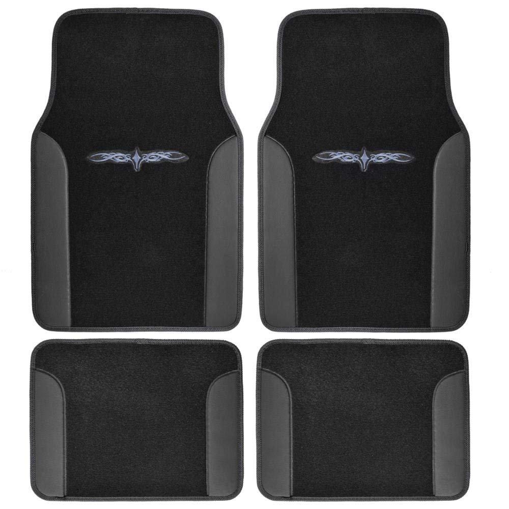 A Set of 4 Universal Fit Plush Carpet with Vinyl Trim Floor Mats For Cars / Trucks - Tribal Black