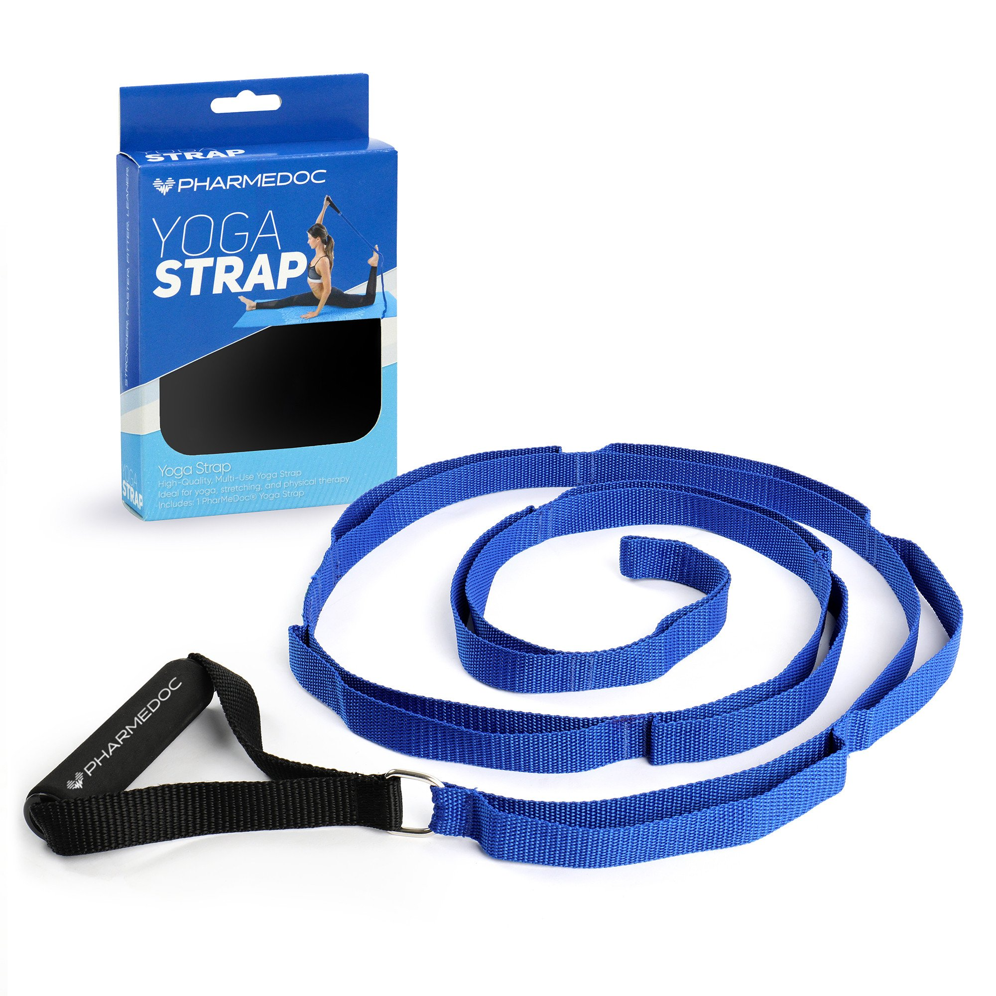 Yoga Strap with Loops and Handle - Stretching Strap & Hamstring Stretcher for Yoga, Exercise, Fitness