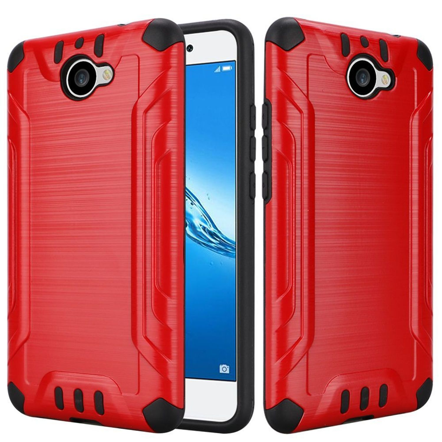 Huawei Ascend XT2 Case, by HR Wireless Slim Armor Dual Layer [Shock Absorbing] Hybrid Brushed Hard Plastic/Soft TPU Rubber Case Cover For Huawei Ascend XT2, Red/Black