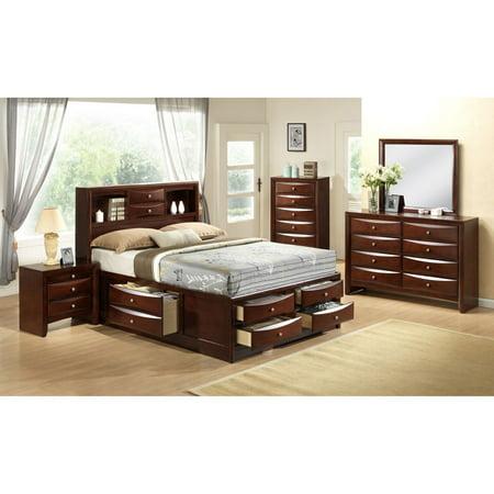 Cambridge Orleans Storage 5-Piece Bedroom Suite: King Bed, Dresser, Mirror, Chest and Nightstand