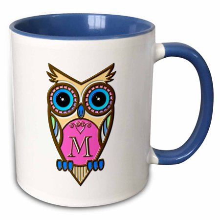 3dRose Gorgeous Pink and Blue Owl Monogram Letter M - Two Tone Blue Mug, 11-ounce