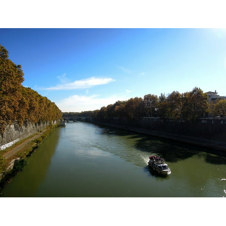 Canvas Print Cruise River Tiber Rome Boat Water Beach Nature Stretched Canvas 10 x