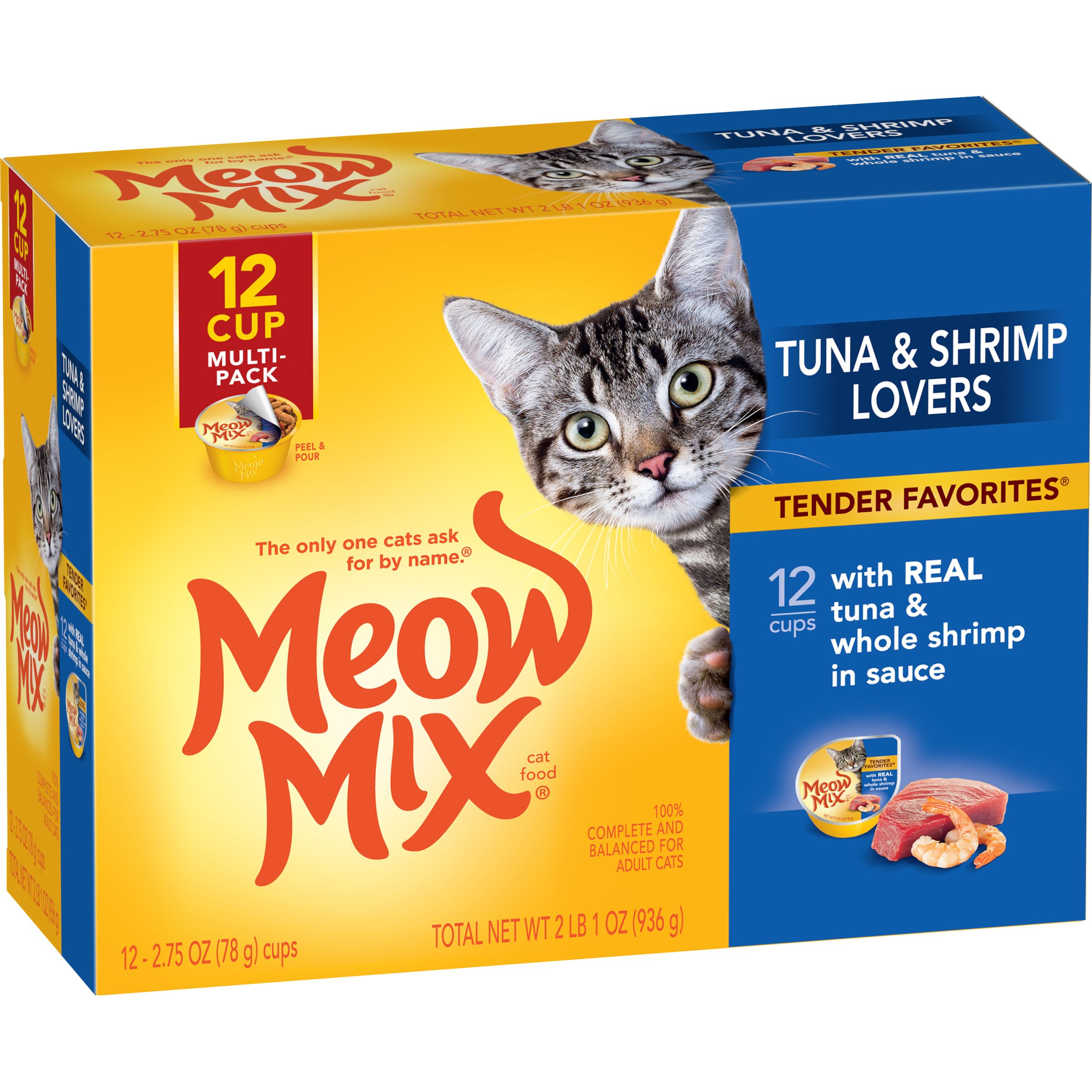 Meow Mix Tender Favorites With Real Tuna & Whole Shrimp in Sauce, 2.75-Ounce