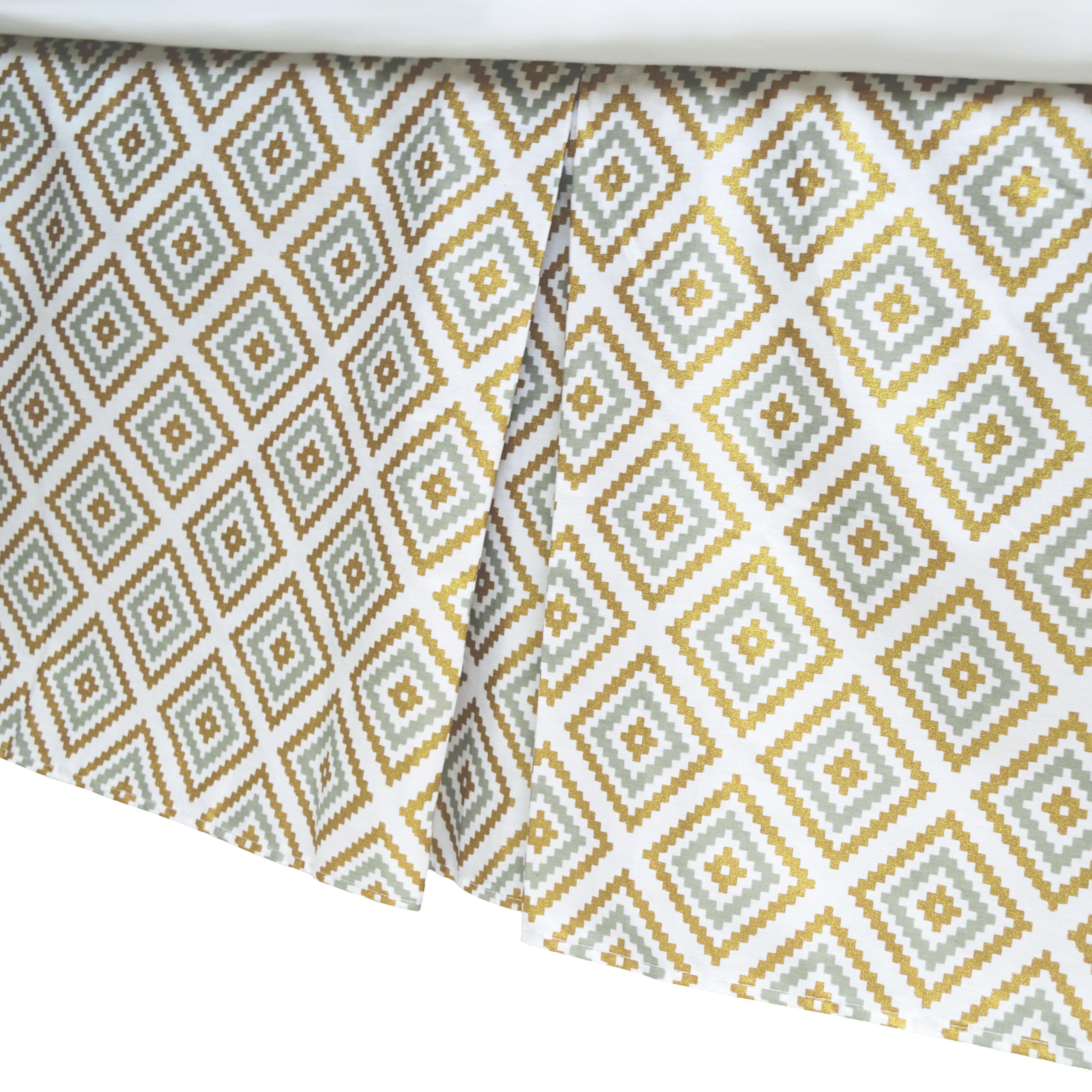 American Baby Company Crib Skirt, Sparkle Gold/Grey Kilim