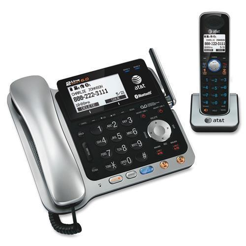 AT&T AT&T TL86109 Bluetooth, DECT Cordless Phone - Black, Silver - Cordless - 2 x Phone Line - 1 x Handset - Speakerphone - Answering Machine - Caller ID - Backlight