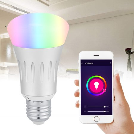 Smart Wifi Bulb 7W Wifi LED Light Wireless Remote Control Dimmable RGBW Smart LED Bulb Lamp Light (E27 Lamp Base)