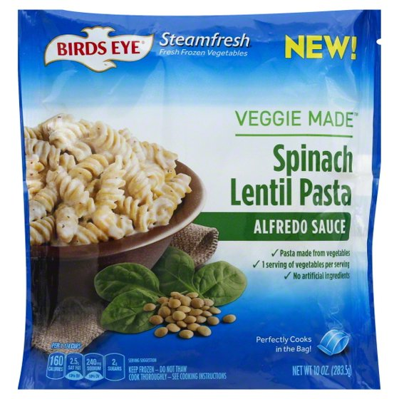 Birds Eye Veggie Made Spinach Lentil Pasta Alfredo Sauce 10 Oz
