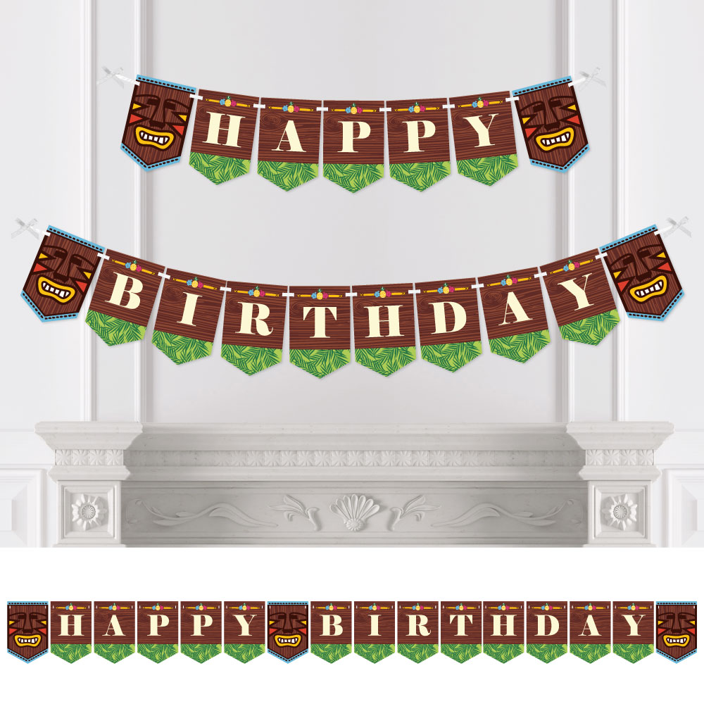 Tiki Luau - Birthday Party Bunting Banner - Tropical Hawaiian Summer Party Decorations - Happy Birthday