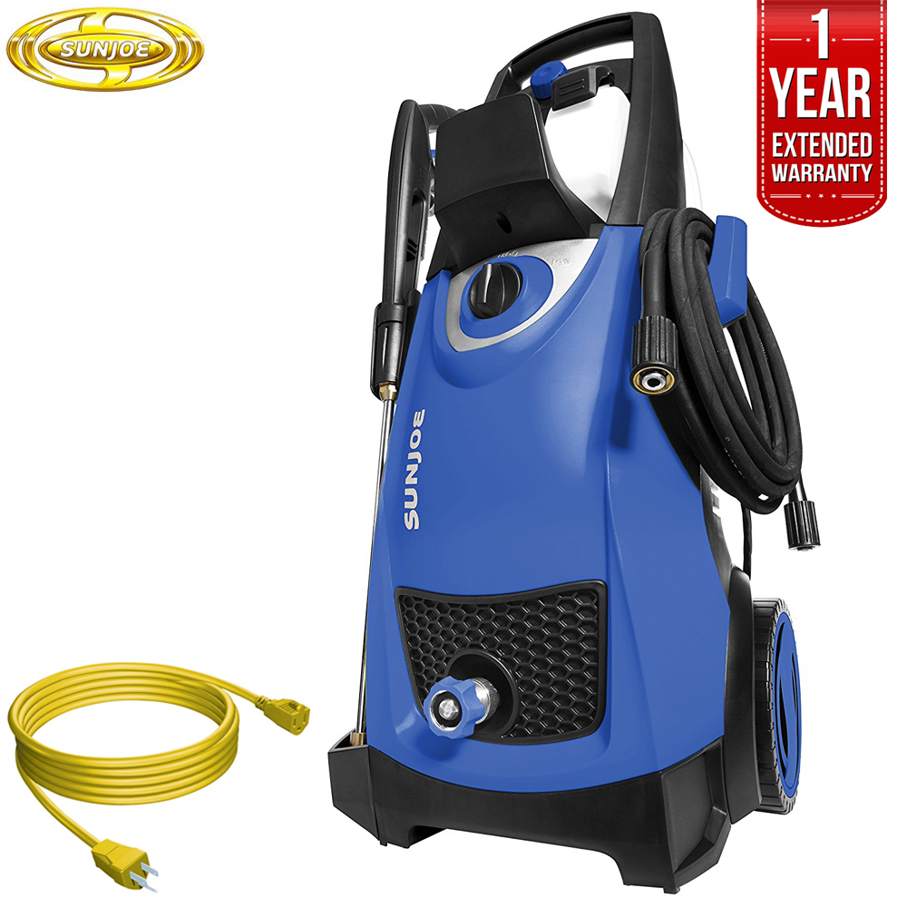 Sun Joe SPX3000SJB Pressure Joe 2030 PSI Electric Pressure Washer (Dark Blue) All You Need Bundle with 25 Foot Outdoor Extension Cord and One year Warranty Extension