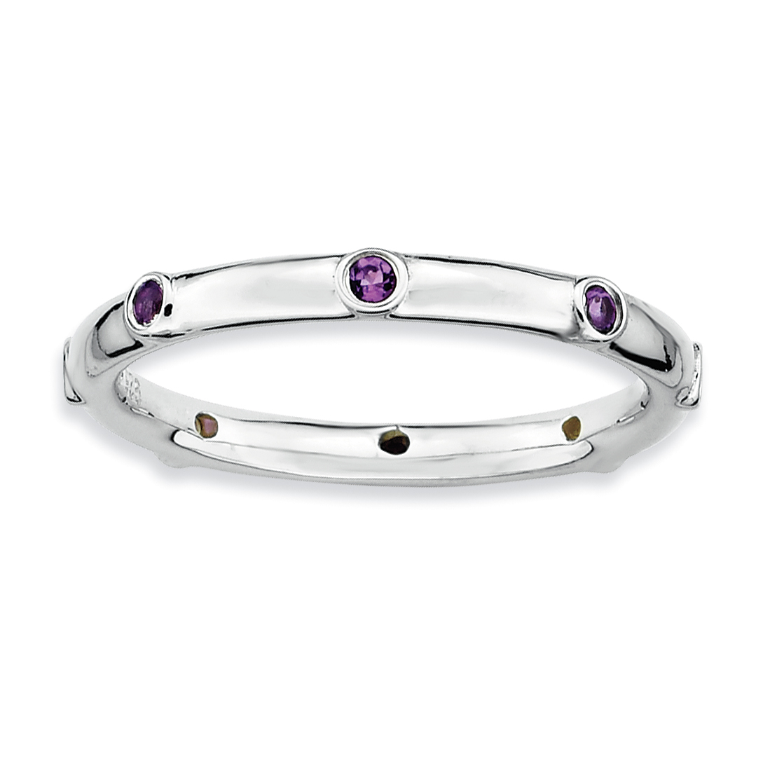Sterling Silver Stackable Expressions Amethyst Ring Size 10 - image 1 of 3