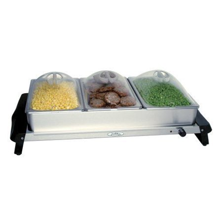 Broil King Professional Stainless-Steel Triple Buffet Server with Plastic Lids (Broil King Buffet)